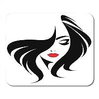 マウスパッドファッションレッドサロンロングヘア女性の顔に美容女性マウスパッドファッション用ノートブック、デスクトップコンピュータマウスマット、オフィス用品
