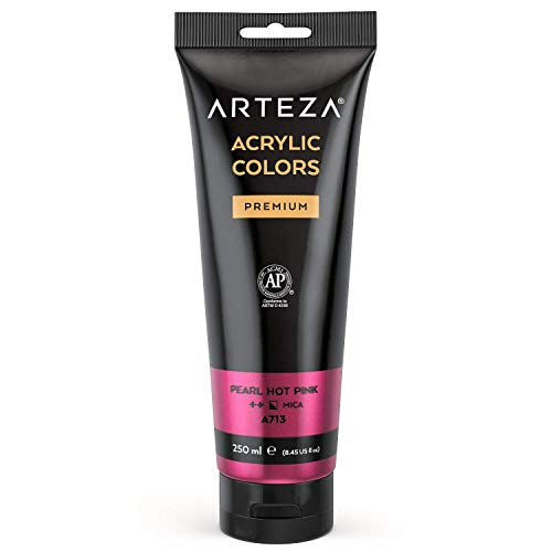 ARTEZA Metallic Acrylic Paint, Pearl Hot Pink A219Color 8.45 oz/250 ml Tube, Rich Pigment, Non Fading, Non Toxic, Single Color Paint for Artists, Hobby Painters & Kids