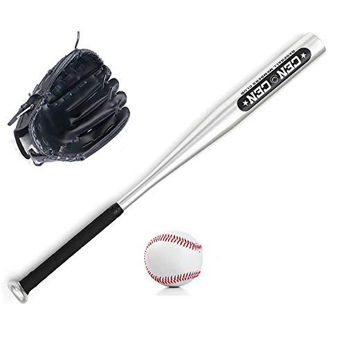 IDE Con Conjunto de béisbol, Bate de Madera, Guante y Bola de béisbol, Mayor de la Liga de béisbol Menor BallLittle Conjunto Kit Multicolor 25', Infantil Mixta Conjunto de béisbol,Negro