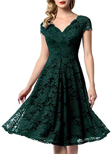 AONOUR 0052 Women's Vintage Floral Lace Bridesmaid Dress Wedding Party Midi Dress Cap Dark Green S