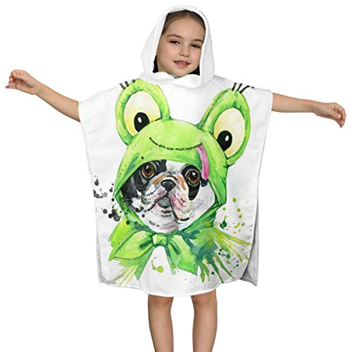Kiuloam Kids Children Hooded Towel, Cute French Bulldog Dog Hooded Bath Towel for Bath Pool and Beach, Fits 2-7 Years Old Boys and Girls
