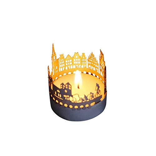13gramm Münster-Skyline Windlicht Schattenspiel Souvenir, 3D Edelstahl Aufsatz für Kerze inkl. Karte