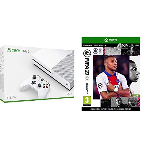 Xbox One S 1TB + White Xbox Controller, 1 month Xbox Game Pass & 14 days Xbox Live Gold + FIFA 21 Champions Edition (Xbox One)