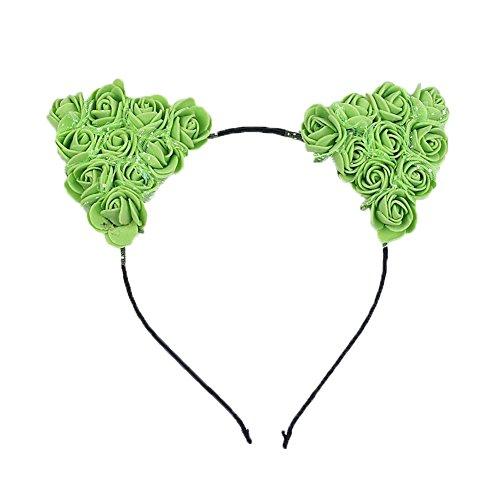 Demarkt 1 Pcs Bande de Cheveux Oreilles de chat Petites fleurs Headband Elastique Extensible Hairband Twisted pour Femmes Filles Enfant Bijoux Mariage Maquillage Fête Décoration (Vert)
