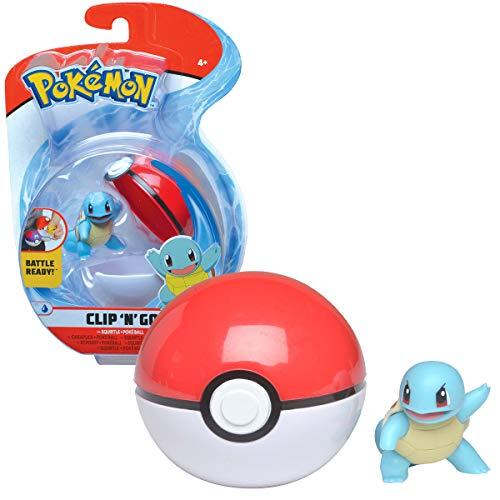 Bandai- Pokémon-Poké Ball & su Figura 5 cm Carapuce, WT97642