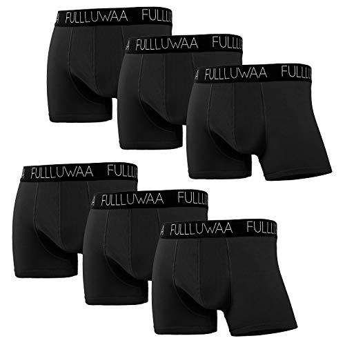Fullluwaa Boxershorts Herren 6er Pack Retroshorts Trunks Men Unterwäsche Unterhosen Männer Baumwolle S,M,L,XL,2XL,3XL(2XL,Schwarz)