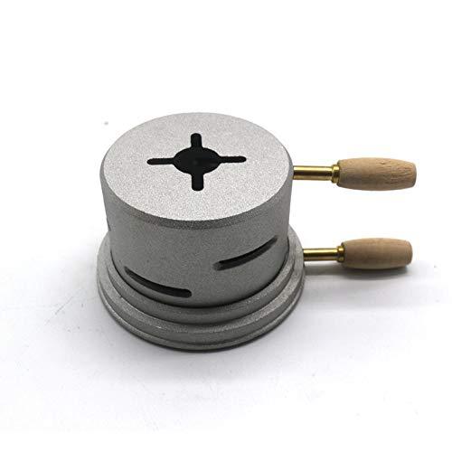 PCWS Shisha Smokebox Kopf Aufsatz mit Wärmeregler in Box | Nur eine 1 Kohle | Matt Grau | Aluminiumlegierung Kamin Hitze Shishaofen Brenner Doppelgriff