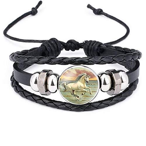SLVVL Cartoon Eenhoorn Pony Tijd Edelsteen Armband Handgebreide Lederen Armband