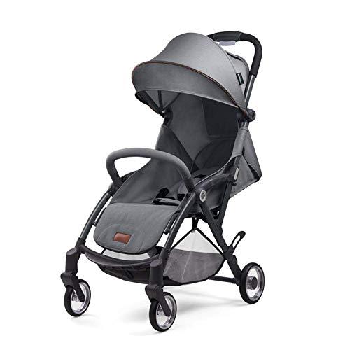 YL Kinderwagen Adjustable, Hoch Landschaft Kinderwagen, Reisesystem, kompakte und leichte Sportkinderwagen, Recline-Baby-Buggy for Flugzeug-Ultra-Leicht-Baby-Trolley mit (Color : Dark Gray)