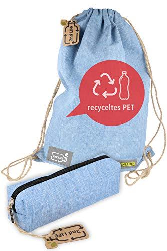 Bolsa de deporte con estuche Online 2nd Life, material de PET reciclado para un medio ambiente limpio, bolsa de gimnasio de 35 x 50 cm/estuche de lápices 20 x 5 x 6 cm