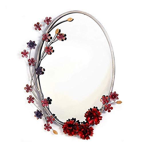 jardín Espejo de baño tocador tocador decoración Creativa Porche Simple Espejo Colgante de Pared de Hierro Forjado