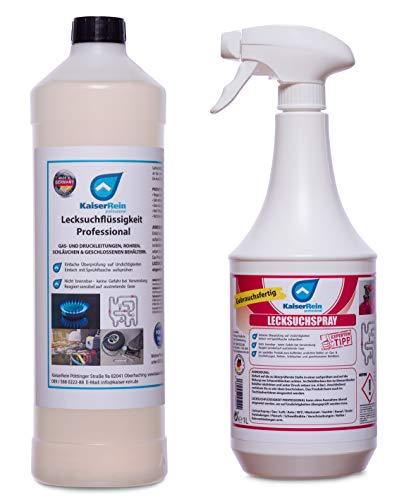 KaiserRein Professionelles Lecksuchspray 1L Konzentrat = 20L Leck Such Spray inkl. Sprayflasche einfaches Finden von undichten Stellen bei Gas, Luft, Kessel, Druck & Leitungen…