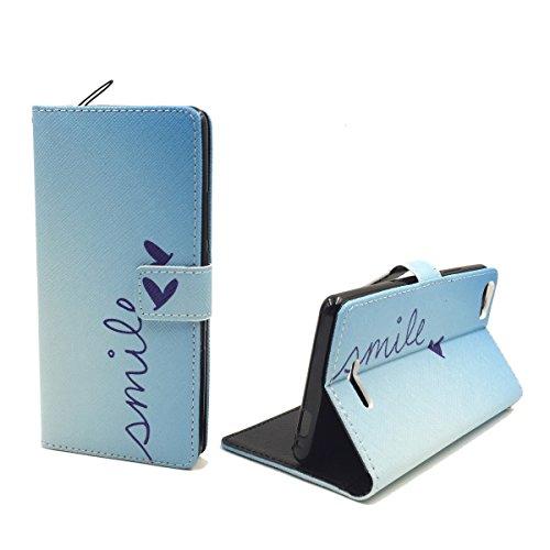 König Design Handyhülle Kompatibel mit Wiko Fever 4G Handytasche Schutzhülle Tasche Flip Hülle mit Kreditkartenfächern - Smile Blau