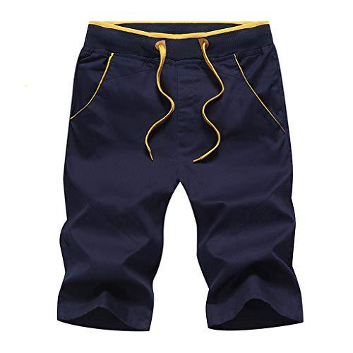 Bermuda Homme Shorts de Sport en Coton Tissu Confortable Style Taille Elastique Corde De Serrage Pantalons Court Loisirs Pantacourt