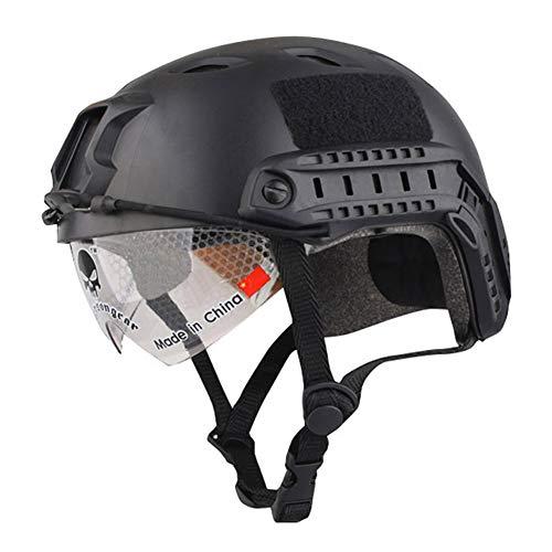 BJ Base Jump - Casco de protección táctico militar, con gafas de protección para CQB Tir Airsoft paintball caza CS