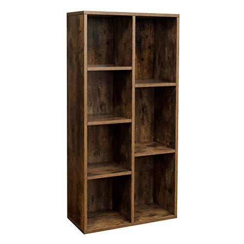 VASAGLE Bücherregal mit 7 Fächern, Würfelregal, offenes Standregal, für Wohnzimmer, Arbeitszimmer, Büro, 50 x 24 x 106 cm (L x B x H), Vintage, Dunkelbraun LBC27BX