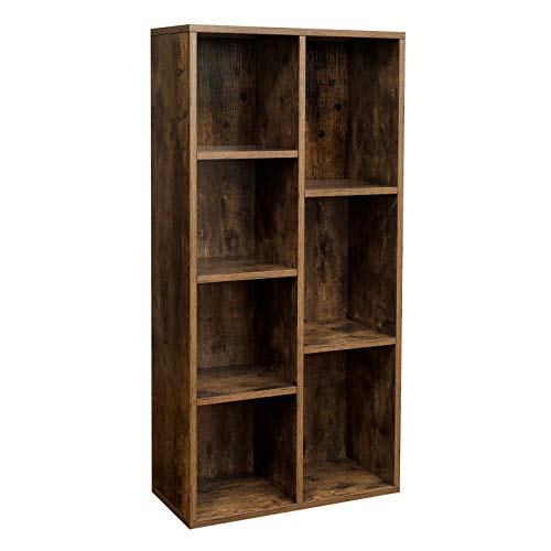 VASAGLE 7-Compartment Bookcase, 7 Open Slots Bookshelf, Display Storage Rack, in Living Room Studio and Office, 50 x 24 x 106 cm (L x W x H), Rustic Brown LBC27BX