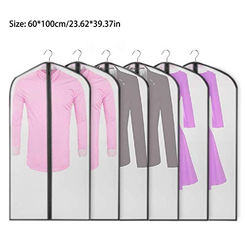 Clothes Covers Protector Bags Moth Proof Coat Bag with Zip Garment Covers Pack of 6 Transparent Garment Bags Moth Proof Breathable Suit Bag