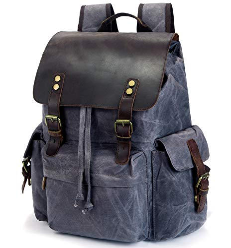 SUVOM Vintage Canvas Backpacks Genuine Leather 15.6' Laptop Rucksack Waterproof School Bag Travel Casual Daypack(Dark gray)