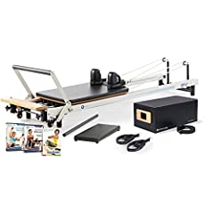Home Pilates reformer package for increasing core strength, flexibility, mobility, and endurance. Optional Mat Converter allows for Matwork exercises on a comfortable, raised surface Reformer includes 4 full-tension and 1 half-tension reformer spring...
