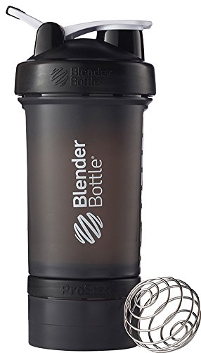 BlenderBottle'' Shaker Bottle with Pill Organizer and Storage for Protein Powder, ProStak System, 22-Ounce, Black/White