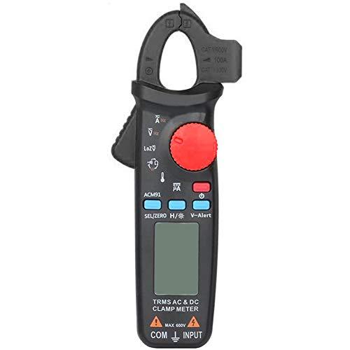 Odoukey DC Actual Pinza amperimétrica, True Rms 6000 Cuentas multímetro Digital con Clip Trasero Amp Continuidad Ohm Hz Comprobar V-Alerta del probador del Voltaje Negro