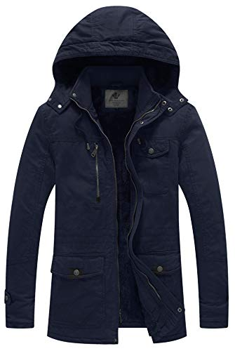 WenVen Men's Winter Thicken Cotton Parka Jacket with Removable Hood (XX-Large, Navy)