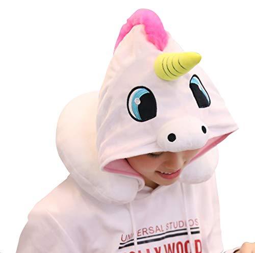 KIKIGOAL Unicornio con capucha animal viaje cuello almohada de poliéster almohada apoyo cojín unicornio sudadera con capucha...