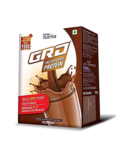 GRD Superior Whey protein powder/Supplement with Immuno Nutrients – Chocolate Flavoured, 400g