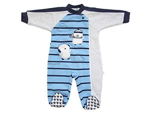 Nazareno Gabrielli Pijama Invierno pingüino niño 6/24 Meses de algodón Bordado con Cremallera -...