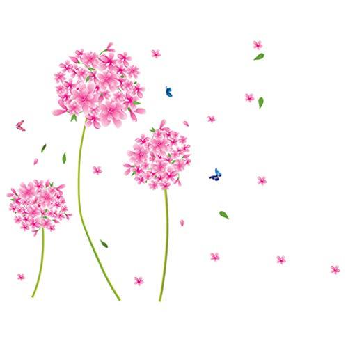 Le style de fleur rose avec des papillons Autocollant mural de PVC à la maison papier peint en vinyle pour la décoration papier peint au salon, à la chambre et à la cuisine les photos d'art DIY à la salle de jeux pour des enfants
