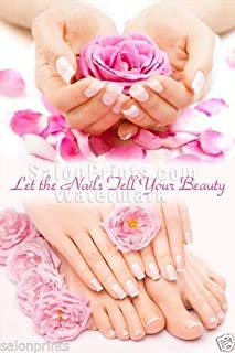 Global Printing Services Nail Salon Poster - French Tips Floral Manicure Pedicure Pink and White Quote Petal Nail Salon Spa Poster    NSD-017 (32in x 48in, Mesh Vinyl (See Through))