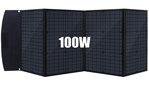 100Watt Foldable Solar Panel Charger Compatible With Most Branded Portable Solar Generator Power Station, Compact Solar Panel Kit With 5V USB / 18V DC for iPhone, Tablet, Laptop, Camera, Cell Phone