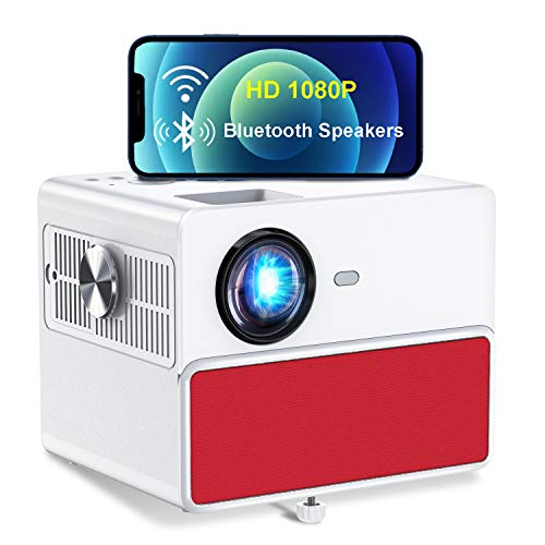 Video Projector, TOWOND Full HD 1080P Home Cinema Projector, Outdoor Film Garden Projectors, 7000 Lumen with Built-in Stereo Speakers, Compatible with USB/DVD/HDMI/Laptop-Red