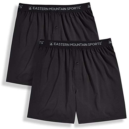 Eastern Mountain Sports Men's Techwick Boxers, 2-Pack Black/Black M