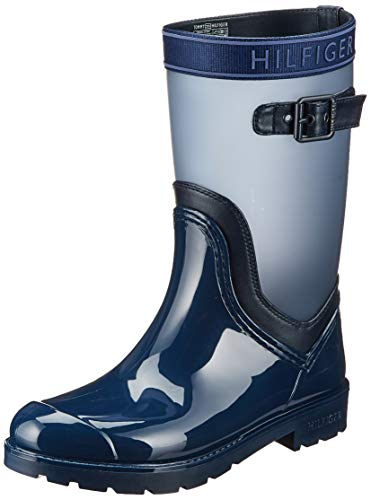 Tommy Hilfiger Translucent Detail Rain Boot, Botas Chelsea para Mujer, Azul (Tommy Navy 406), 39 EU