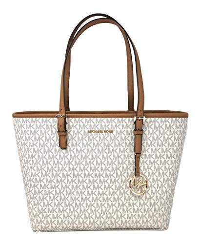 MICHAEL KORS JET SET TRAVEL MEDIUM CARRYALL PVC TOTE BAG IN VANILLA