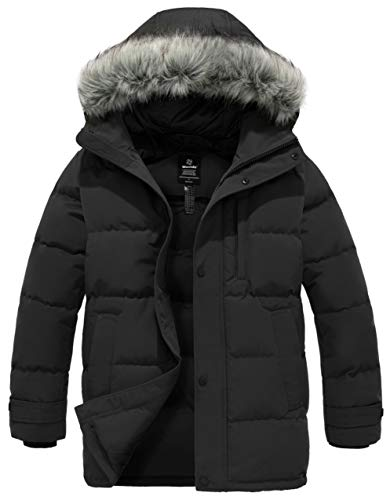 Wantdo Men's Mid Length Down Jacket with Hood Parka Puffer Coat Black M