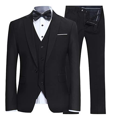 YFFUSHI Men's Slim Fit 3 Piece Suit One Button Blazer Tux Vest & Trousers,Black,Large