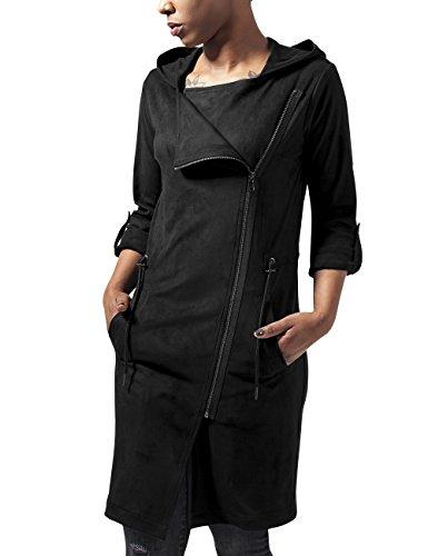 Urban Classics Damen Ladies Imitation Suede Parka Jacke, Schwarz (Black 7), 36 (Herstellergröße: S)