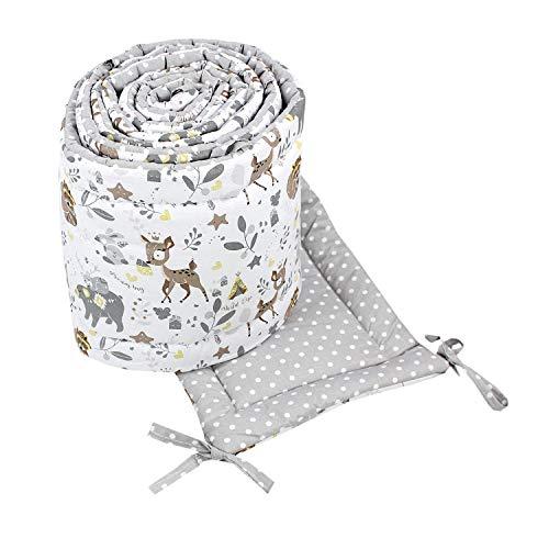 TupTam Babybett Bettumrandung Lang 2-seitig Gemustert Nest, Farbe: Wilde Tiere Grau/Weiß, Größe: 420x30cm (für Babybett 140x70)