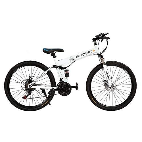 DOMDIL - Mountain Bike Pieghevole per Uomini e Donne Adulti, Bicicletta Sportiva da Montagna, MTB con 21-Stage Shift, 24 Pollici con Ruota a Raggi, Bianco