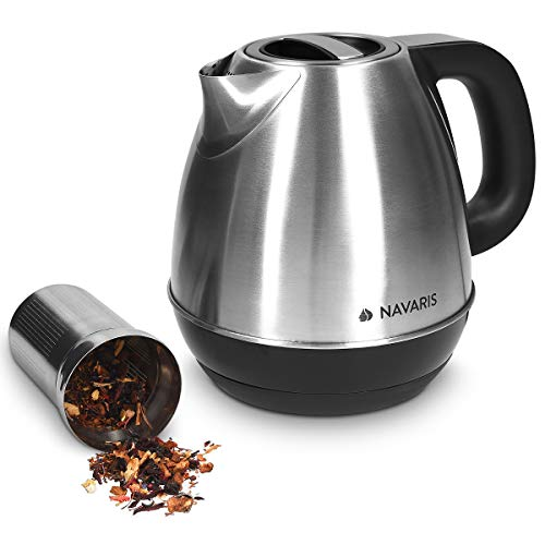 Navaris Edelstahl Wasserkocher 1,2 Liter mit Teesieb - Digital mit Temperatureinstellung von 40°C-100°C - 2200 Watt - Teekocher Metallic Silber