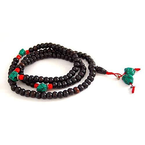 Mala Budista de Hueso Negro con Turquesas y Coral + Bolsa de Terciopelo