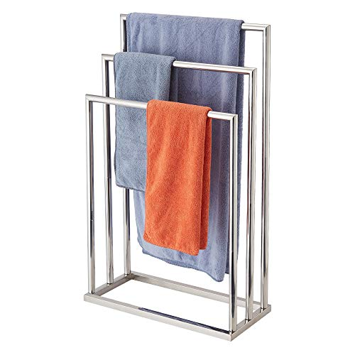 Naturous Freestanding Towel Rack 3 Tier Metal Towel Bar Stand Stainless Steel Bathroom Towel/Kitchen Towel Rack Stand