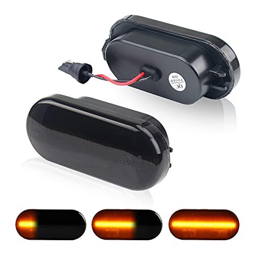 D-Lumina Dynamische Sequentielle LED Seitenblinker Blinker Kompatibel mit Golf 3 4 Passat 3BG Polo SB6, Rauchglas Frontfender Seitenblinker Dynamische Amber Lampen 2er Pack