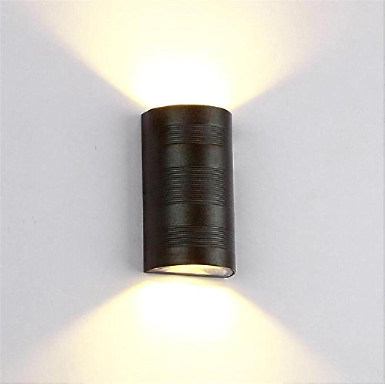 LED Wandleuchte Indoor Modern Einfachen Stil Indoor Outdoor Auf und Ab Wandlampe Schwarz Aluminium Wandbeleuchtung Für Wohnzimmer Schlafzimmer Flur Korridor (Warmwei - 6 Watt)