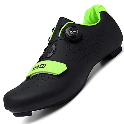 Men Road Bike Cycling Shoes Premium Microtex Shoes with Cleat Men SPD Shoes Black White Men Cycling Spinning Shoes