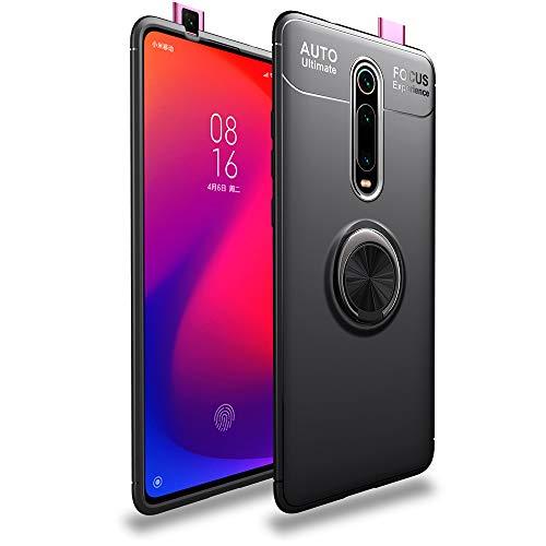 BLUGUL Funda para Xiaomi Mi 9T /9T Pro, Soporte Giratorio del Anillo de 360 Grados, Compatible con Soporte Coche Magnético, Case Cover para Xiaomi 9T Pro /9T Negro