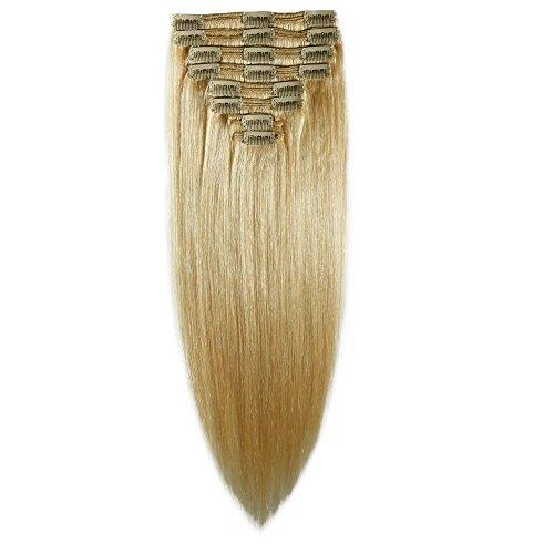 Épaisseur double trame 130 g 40,6 cm Clip en Extensions de cheveux humains 100% Remy 8 pièces 18 clips long souple droite # 613 bleach blonde pour femme Beauté
